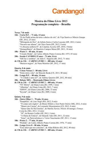 Mostra do Filme Livre 2013 Programação completa ... - Candango!