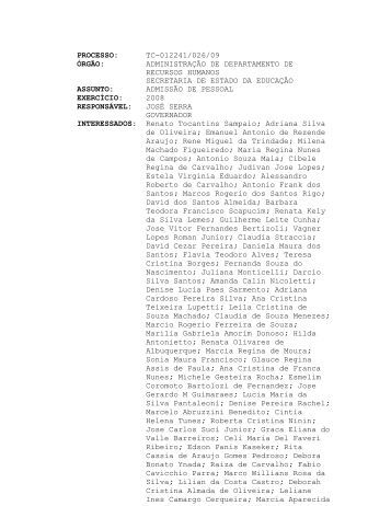 processo: tc-012241/026/09 órgão - Tribunal de Contas do Estado ...