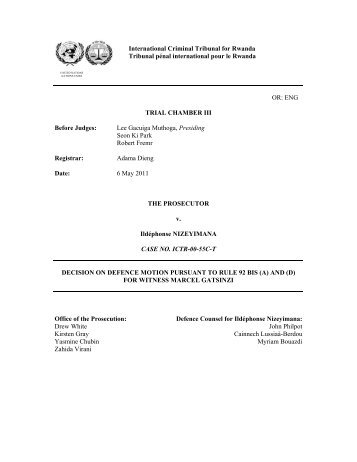 DECISION ON DEFENCE MOTION PURSUANT TO RULE 92 BIS