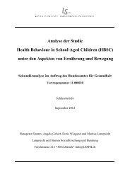 HBSC-Studie – Analyse der Aspekte «Ernährung und Bewegung