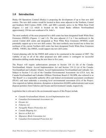 1.0 Introduction - Canada-Newfoundland Offshore Petroleum Board