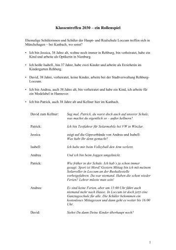 Klassentreffen 2030 – ein Rollenspiel - Rehburg-Loccum 2030