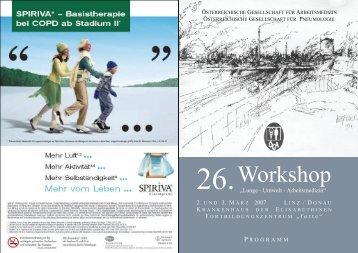 26. Workshop - Österreichische Gesellschaft für Arbeitsmedizin