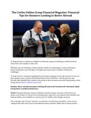 The Corliss Online Group Financial Magazine: Financial Tips for Boomers Looking to Retire Abroad