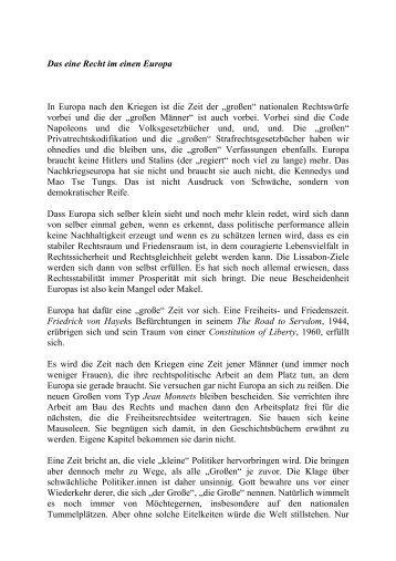 Das eine Recht im einen Europa In Europa nach den Kriegen ist die ...