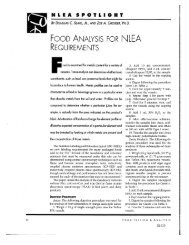 Food Analysis for NLEA Requirements
