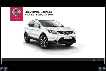 NISSAN CAR & 4X4 RANGE PRICE LIST APRIL 2013