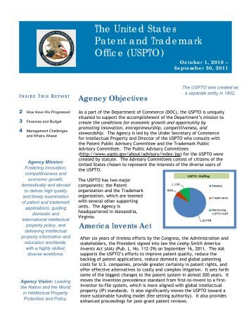 2011 Citizen Centric Report - United States Patent and Trademark ...