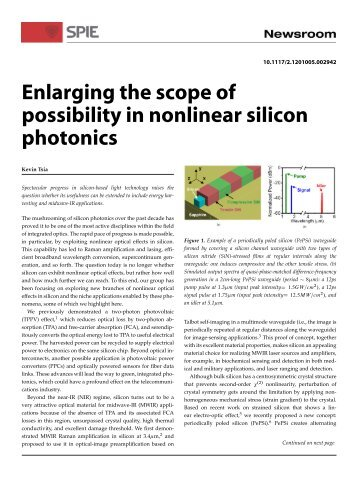 Enlarging the scope of possibility in nonlinear silicon photonics