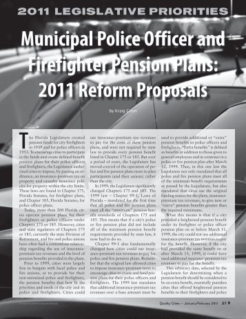 Municipal Police Officer and Firefighter Pension Plans: 2011 Reform ...