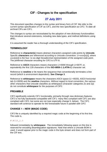 CIF - Changes to the specification, 29 September 2010 DRAFT