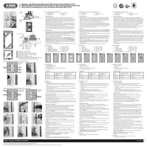 D Montage- und Bedienungsanleitung für ABUS Fenster ...