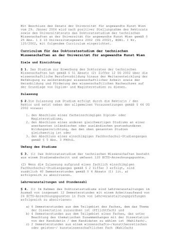 Curriculum für das Doktoratsstudium der technischen ...