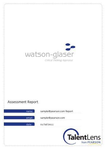 Watson Glaser Critical Thinking Appraisal