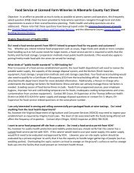 Fact Sheet - Food Service at Licensed Farm ... - Albemarle County