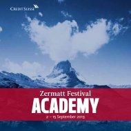 Die Academy-Broschüre (PDF) - Zermatt Festival