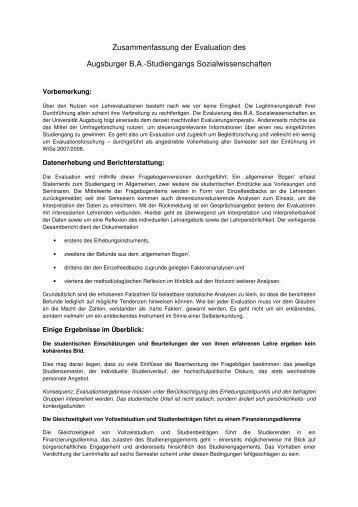 Zusammenfassung der Evaluation des Augsburger B.A. ...