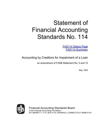 Statement of Financial Accounting Standards No. 114 - Paper Audit ...