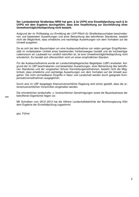 Entscheidung vom 15.02.2013 - Straßen.NRW
