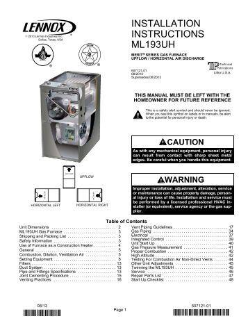 Vulcan Gas Wall Furnace Instructions
