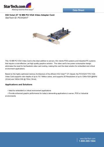XGI Volari Z7 16 MB PCI VGA Video Adapter Card StarTech ID - Icecat