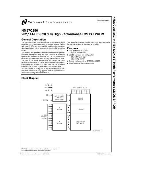 NM27C256 262 144-Bit (32K x 8) High Performance CMOS EPROMYumpu