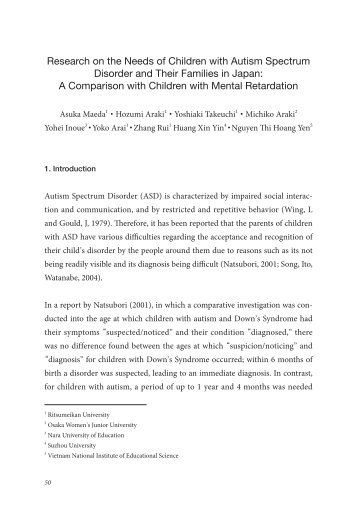 Research on the Needs of Children with Autism Spectrum Disorder ...