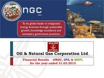Financial Results - 2012-13 - ONGC/OVL/MRPL