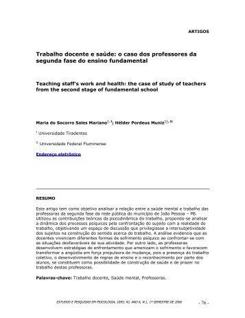 Trabalho docente e saúde: o caso dos professores da segunda fase ...