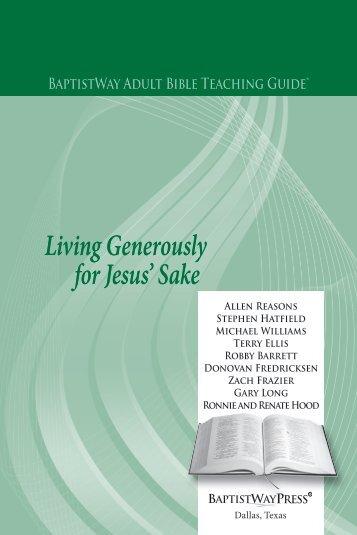 Living Generously for Jesus' Sake - BaptistWay Press