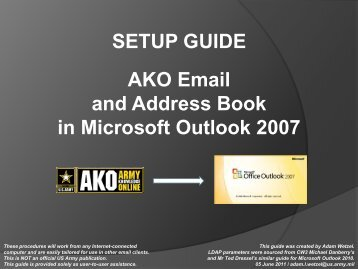 SETUP GUIDE AKO Email and Address Book in Microsoft ... - CAC