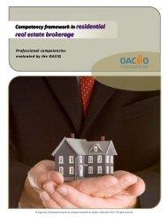 Competency framework in residential real estate brokerage - oaciq