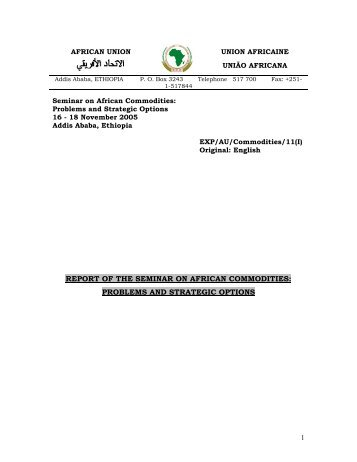 report of the seminar on african commodities - African Union