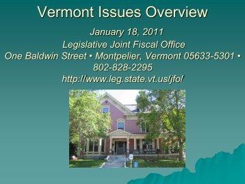 Vermont Fiscal Issues Overview - Vermont Legislature