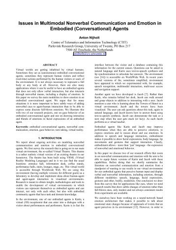 Issues in Multimodal Nonverbal Communication and ... - Server