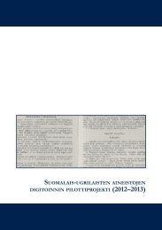 Sukukielten digitointiprojekti, pilottivaihe 2012-2013 - Kansalliskirjasto