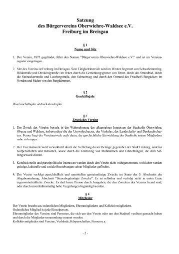 Satzung des Bürgervereins Oberwiehre-Waldsee e.V. Freiburg im ...