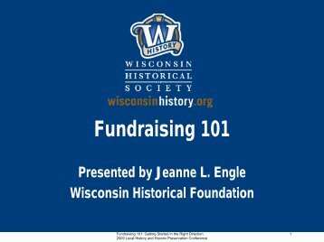 Fundraising 101: Getting Started in the Right Direction - Wisconsin ...