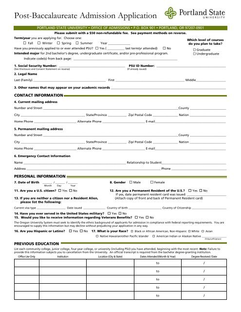 Post-Baccalaureate Admission Application - Portland State