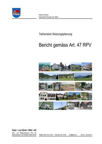 Bericht gemäss Art. 47 RPV - Gemeinde Hausen am Albis