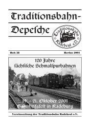 Heft 38 Herbst 2001 Vereinszeitung der Traditionsbahn Radebeul e.V.
