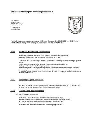 Protokoll der Vorstandssitzung vom 22