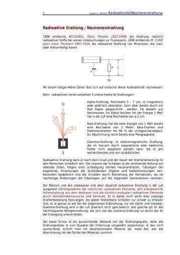 Radioaktive Strahlung Feuerbachers Matheseitede