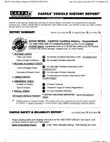 "CARFAX~ VEHICLE HISTORY REPORT'"" - Willeke.com"