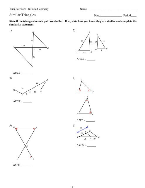 7-Similar Triangles - Kuta Software