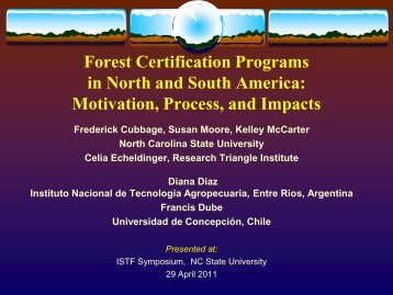 Forest Certification Programs in North and South America ...