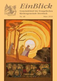 EinBlick Nr. 48, März 2010 - Evangelische Kirchengemeinde ...