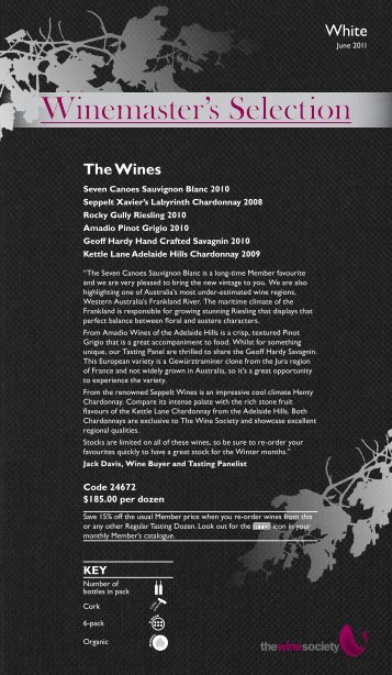 Winemaster's Selection June 2011 - White - The Wine Society