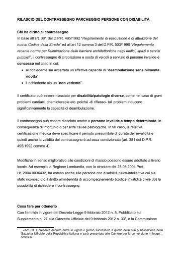 RILASCIO DEL CONTRASSEGNO PARCHEGGIO PERSONE CON ...