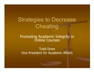Promoting Academic Integrity in Online Courses - Peru State College